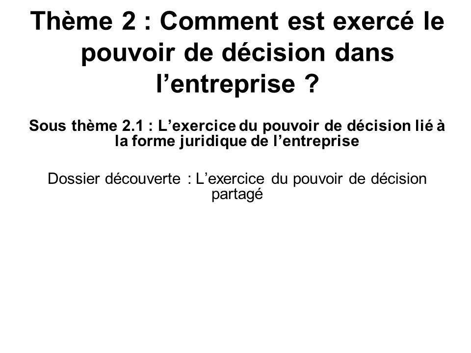 Thème 2 : Comment est exercé le pouvoir de décision dans lentreprise .
