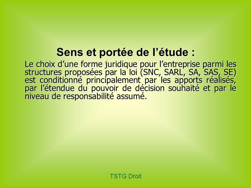 TSTG Droit Sens et portée de létude : Le choix dune forme juridique pour lentreprise parmi les structures proposées par la loi (SNC, SARL, SA, SAS, SE