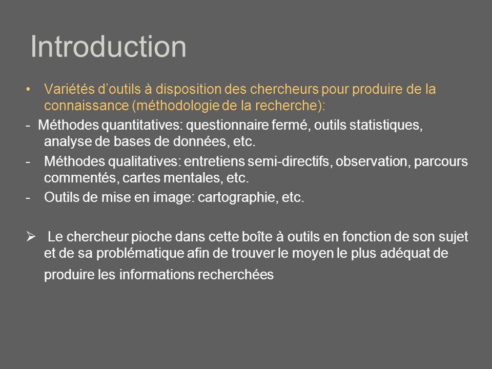 Introduction Variétés doutils à disposition des chercheurs pour produire de la connaissance (méthodologie de la recherche): - Méthodes quantitatives: questionnaire fermé, outils statistiques, analyse de bases de données, etc.