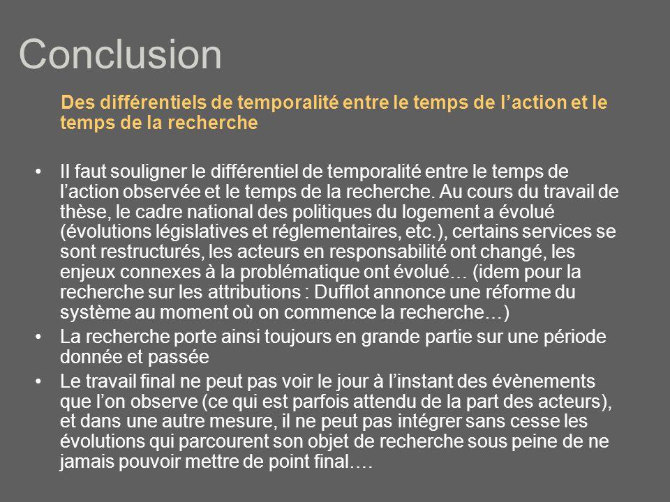 Conclusion Des différentiels de temporalité entre le temps de laction et le temps de la recherche Il faut souligner le différentiel de temporalité entre le temps de laction observée et le temps de la recherche.