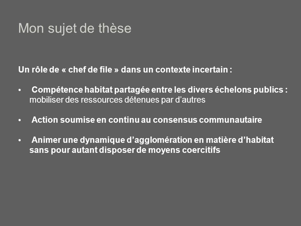 Mon sujet de thèse Problématique générale: Au sein dun contexte fragmenté, pluriel et négocié, quelle est la capacité daction collective des intercommunalités à faire émerger un « bien commun territorial » en matière dhabitat .