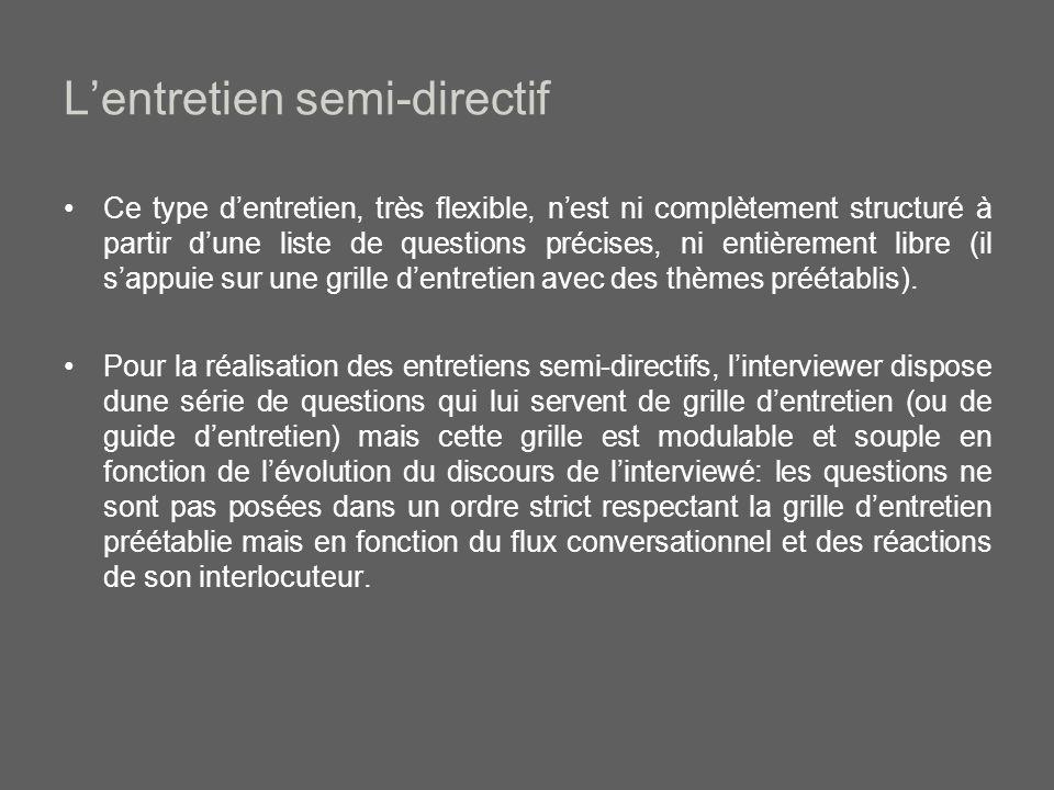 Lentretien semi-directif Ce type dentretien, très flexible, nest ni complètement structuré à partir dune liste de questions précises, ni entièrement libre (il sappuie sur une grille dentretien avec des thèmes préétablis).
