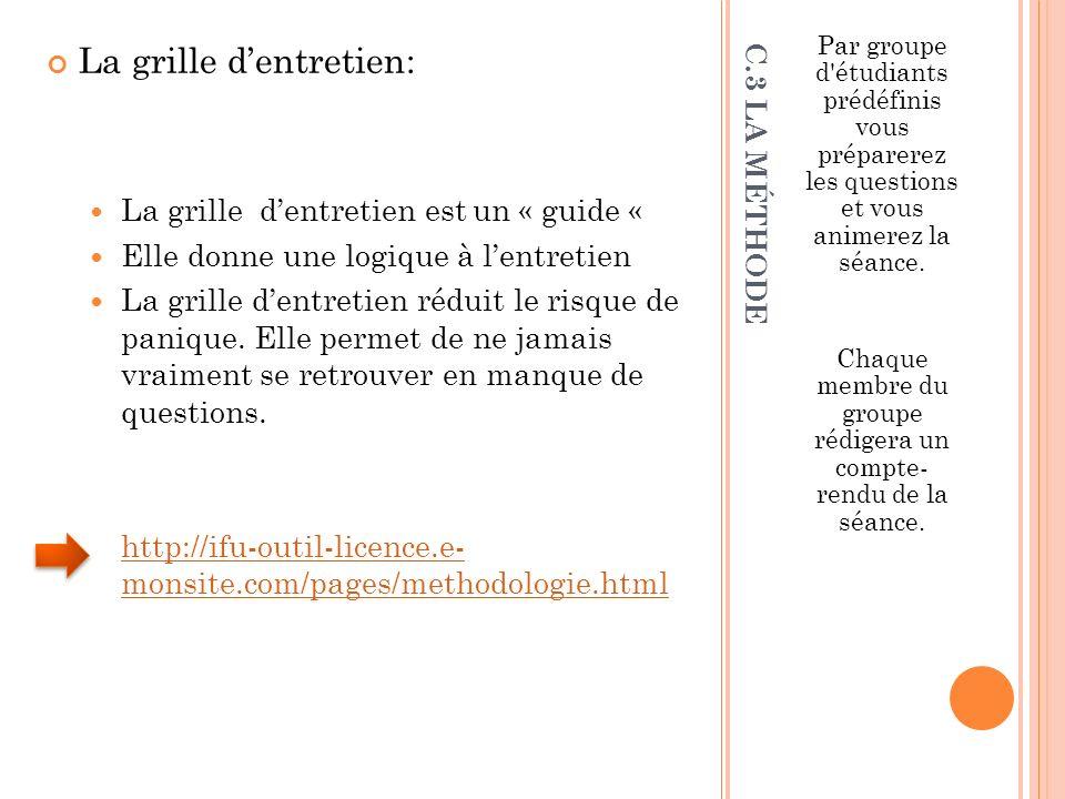 C.3 LA MÉTHODE La grille dentretien: La grilledentretien estun « guide « Elle donne une logique à lentretien La grille dentretien réduit le risque de