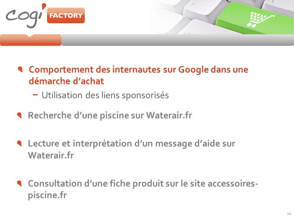 Comportement des internautes sur Google dans une démarche dachat Utilisation des liens sponsorisés 12 Recherche dune piscine sur Waterair.fr Lecture e