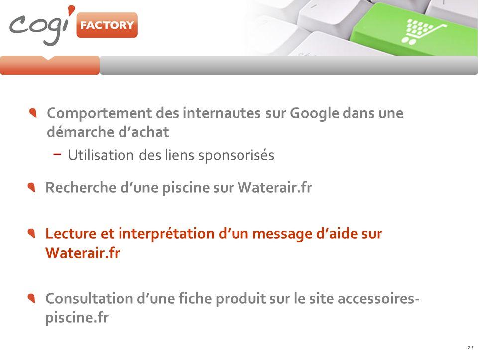 Comportement des internautes sur Google dans une démarche dachat Utilisation des liens sponsorisés 21 Recherche dune piscine sur Waterair.fr Lecture e