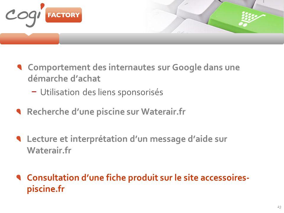 Comportement des internautes sur Google dans une démarche dachat Utilisation des liens sponsorisés 23 Recherche dune piscine sur Waterair.fr Lecture e