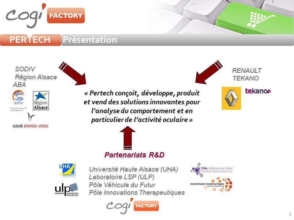 3 « Pertech conçoit, développe, produit et vend des solutions innovantes pour lanalyse du comportement et en particulier de lactivité oculaire » RENAULT TEKANO TEKANO Partenariats R&D Université Haute Alsace (UHA) Laboratoire LSP (ULP) Laboratoire LSP (ULP) Pôle Véhicule du Futur Pôle Véhicule du Futur Pôle Innovations Therapeutiques Pôle Innovations Therapeutiques PrésentationPERTECH SODIV Région Alsace Région AlsaceABA