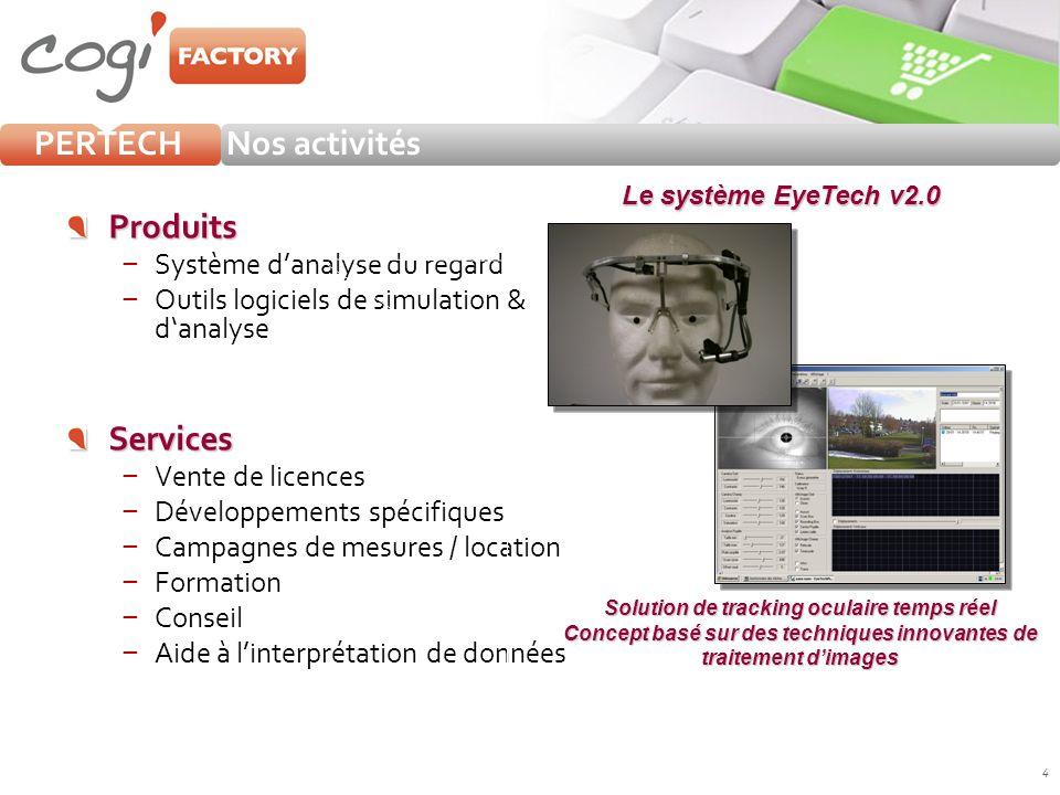 4 PERTECHNos activités Produits Système danalyse du regard Outils logiciels de simulation & danalyseServices Vente de licences Développements spécifiq