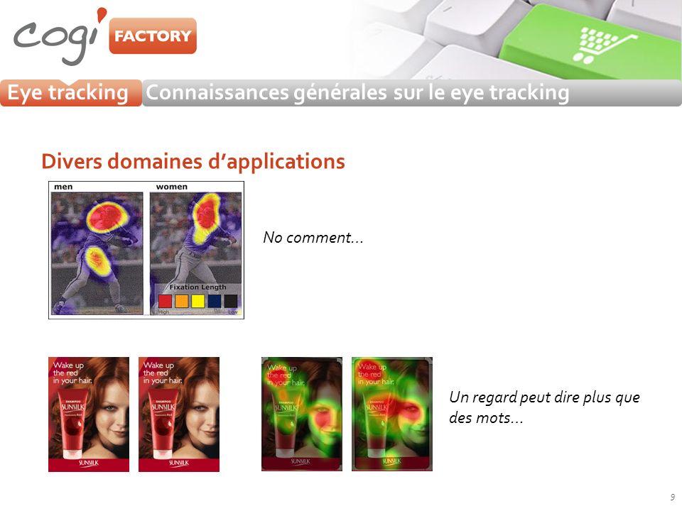 Eye trackingConnaissances générales sur le eye tracking Divers domaines dapplications 9 No comment… Un regard peut dire plus que des mots…