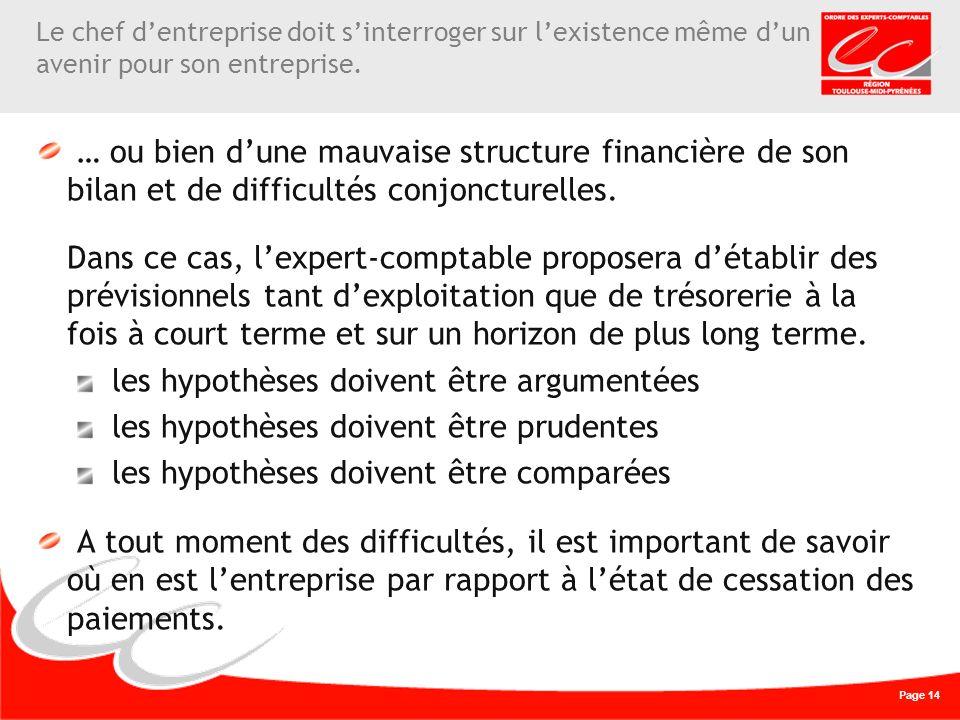 Page 14 … ou bien dune mauvaise structure financière de son bilan et de difficultés conjoncturelles.