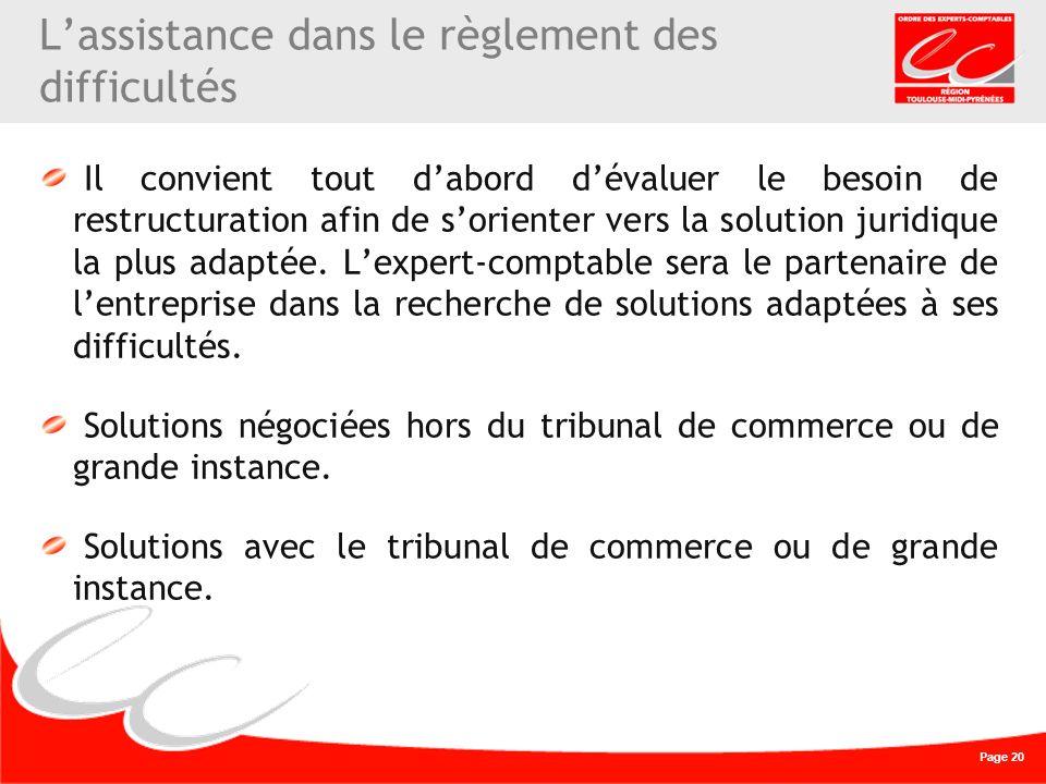 Page 20 Lassistance dans le règlement des difficultés Il convient tout dabord dévaluer le besoin de restructuration afin de sorienter vers la solution juridique la plus adaptée.