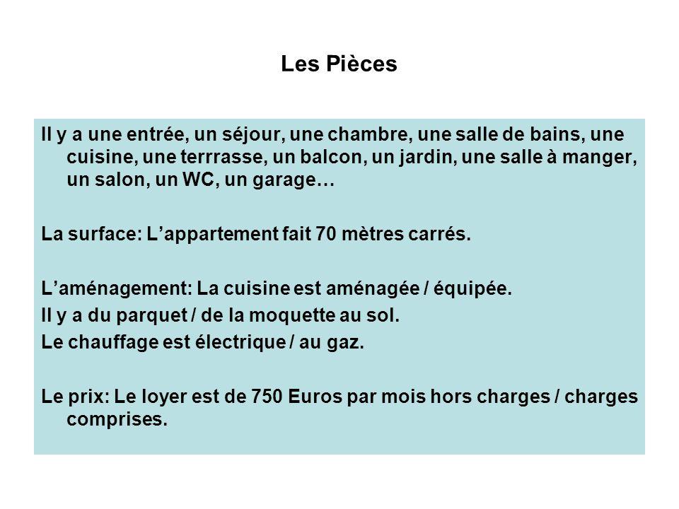 Les Pièces Il y a une entrée, un séjour, une chambre, une salle de bains, une cuisine, une terrrasse, un balcon, un jardin, une salle à manger, un salon, un WC, un garage… La surface: Lappartement fait 70 mètres carrés.