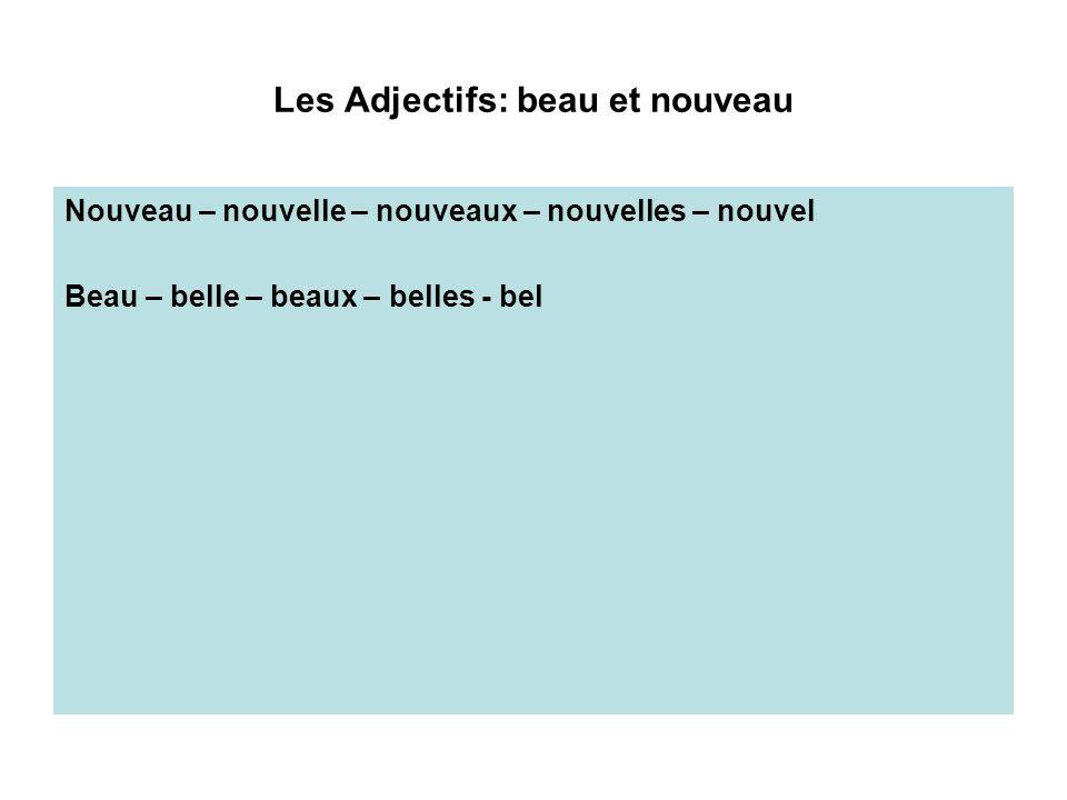 Les Adjectifs: beau et nouveau Nouveau – nouvelle – nouveaux – nouvelles – nouvel Beau – belle – beaux – belles - bel