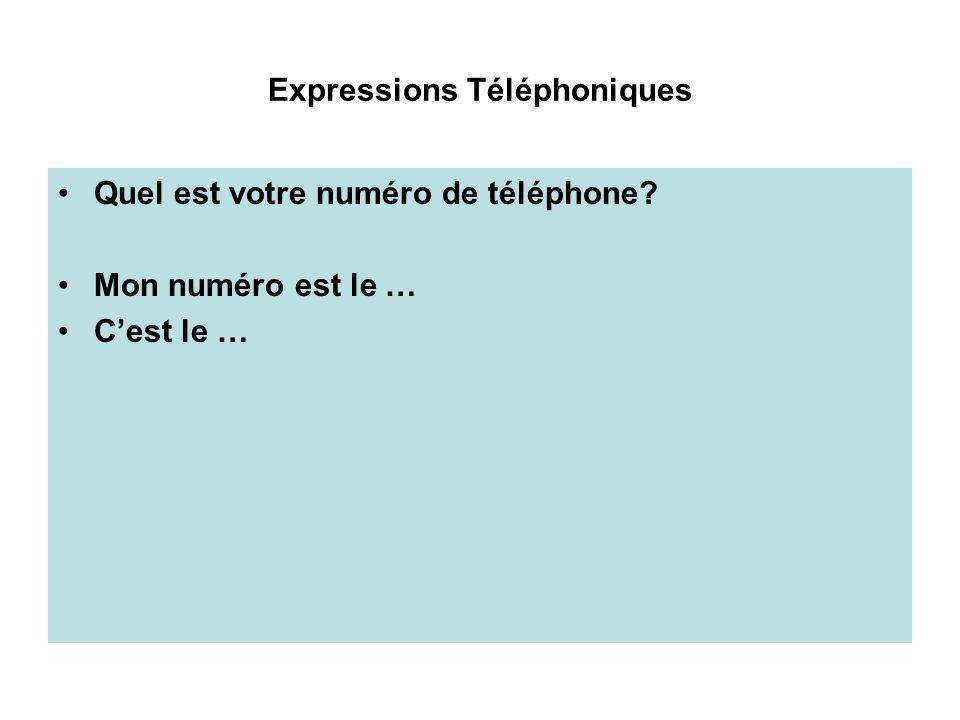 Expressions Téléphoniques Quel est votre numéro de téléphone? Mon numéro est le … Cest le …
