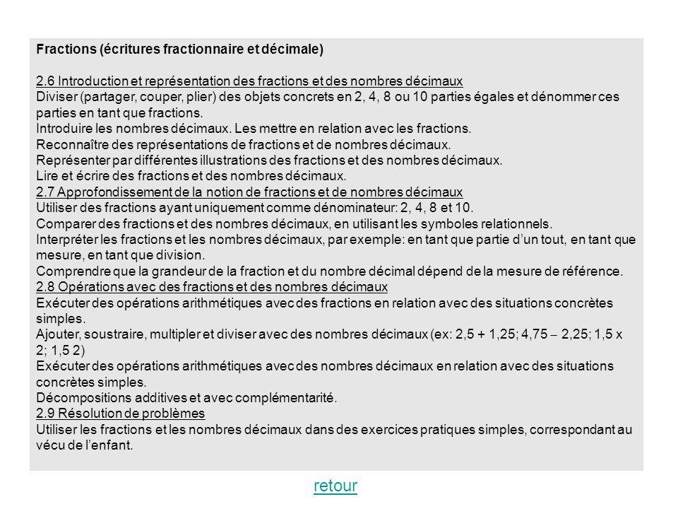 Fractions (écritures fractionnaire et décimale) 2.6 Introduction et représentation des fractions et des nombres décimaux Diviser (partager, couper, pl
