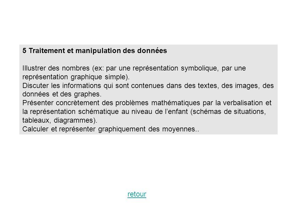 5 Traitement et manipulation des données Illustrer des nombres (ex: par une représentation symbolique, par une représentation graphique simple). Discu