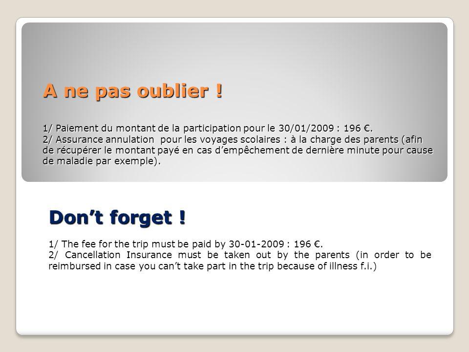 A ne pas oublier . 1/ Paiement du montant de la participation pour le 30/01/2009 : 196.