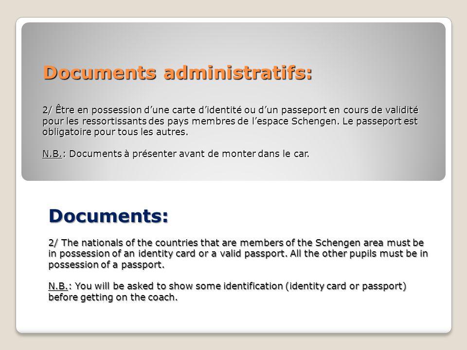 Documents administratifs: 2/ Être en possession dune carte didentité ou dun passeport en cours de validité pour les ressortissants des pays membres de lespace Schengen.