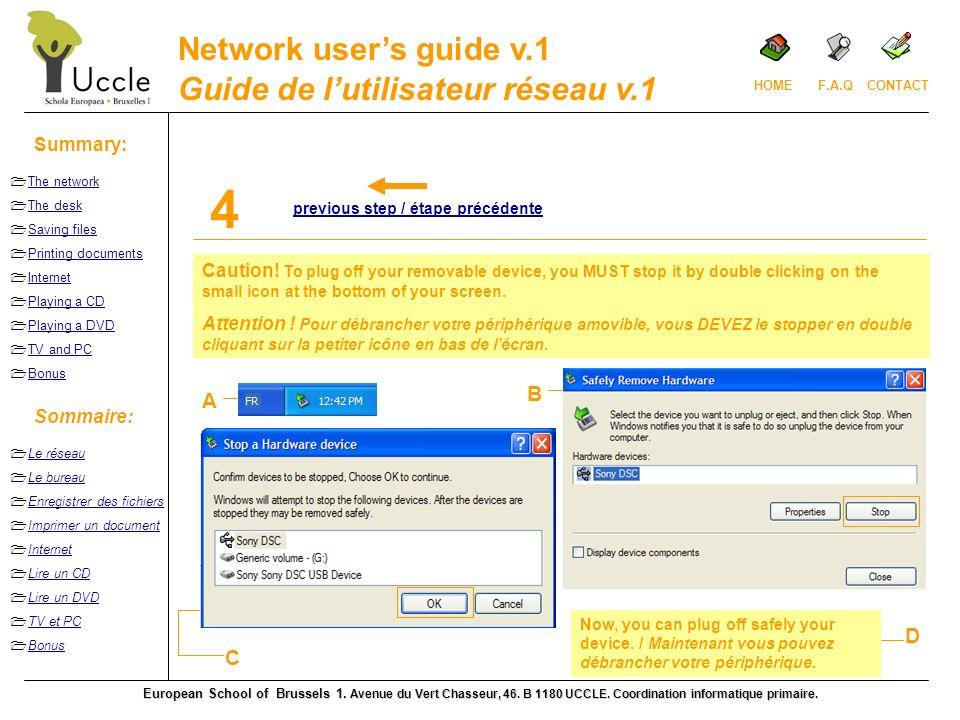 Guide de lutilisateur réseau v.1 European School of Brussels 1.