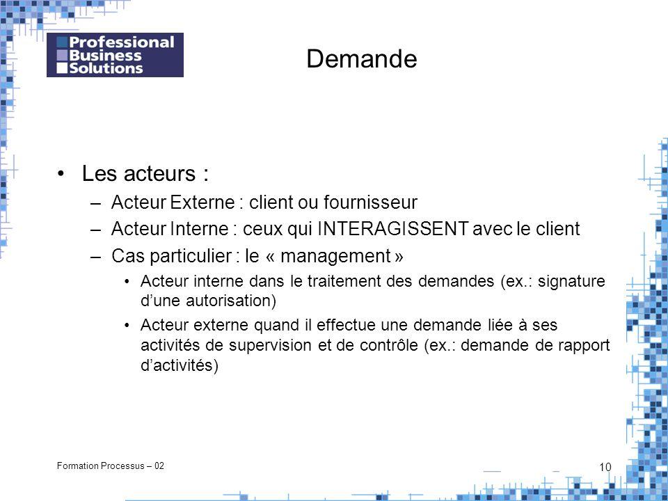 Formation Processus – 02 10 Demande Les acteurs : –Acteur Externe : client ou fournisseur –Acteur Interne : ceux qui INTERAGISSENT avec le client –Cas