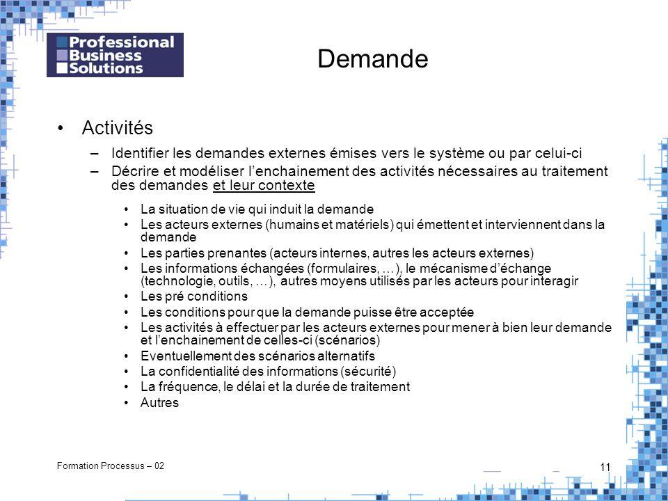Formation Processus – 02 11 Demande Activités –Identifier les demandes externes émises vers le système ou par celui-ci –Décrire et modéliser lenchaine
