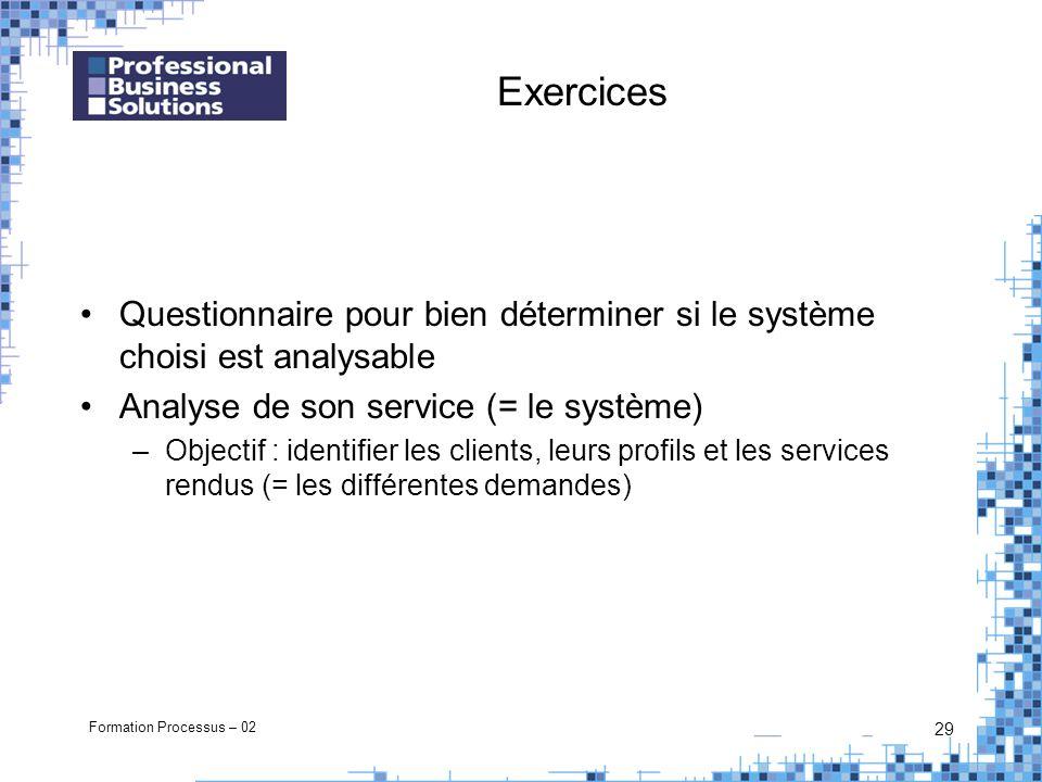 Formation Processus – 02 29 Exercices Questionnaire pour bien déterminer si le système choisi est analysable Analyse de son service (= le système) –Objectif : identifier les clients, leurs profils et les services rendus (= les différentes demandes)
