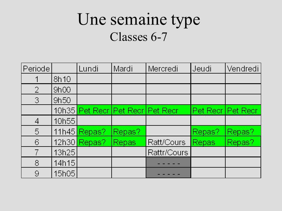 Une semaine type Classes 6-7