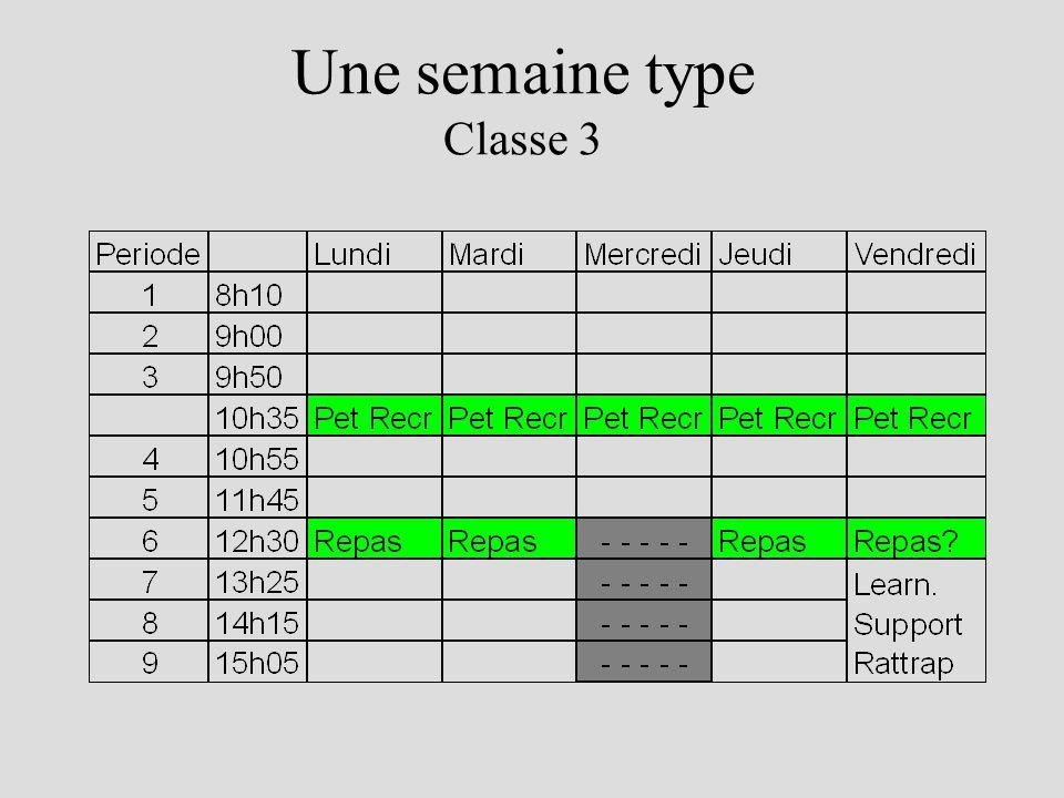 Une semaine type Classes 4-5