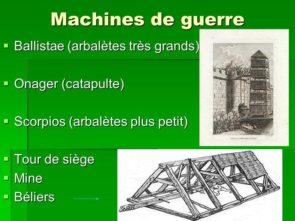 Machines de guerre Ballistae (arbalètes très grands) Ballistae (arbalètes très grands) Onager (catapulte) Onager (catapulte) Scorpios (arbalètes plus