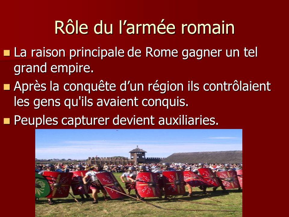 Rôle du larmée romain La raison principale de Rome gagner un tel grand empire. La raison principale de Rome gagner un tel grand empire. Après la conqu