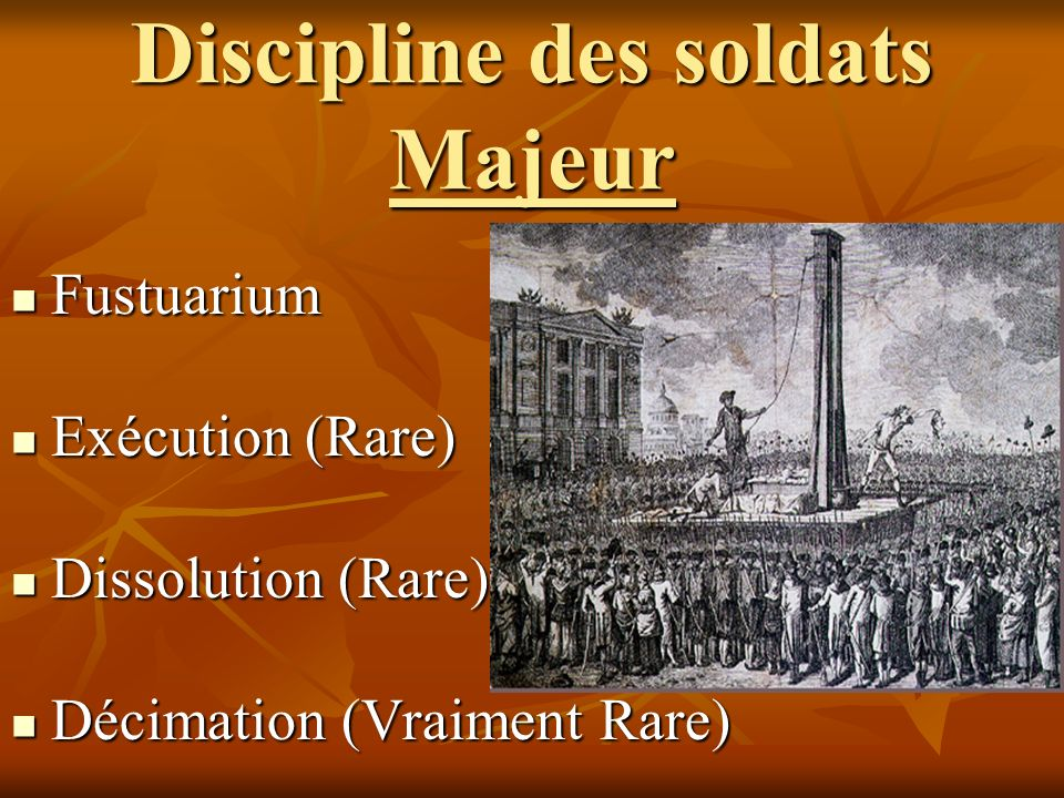 Discipline des soldats Majeur Fustuarium Fustuarium Exécution (Rare) Exécution (Rare) Dissolution (Rare) Dissolution (Rare) Décimation (Vraiment Rare)