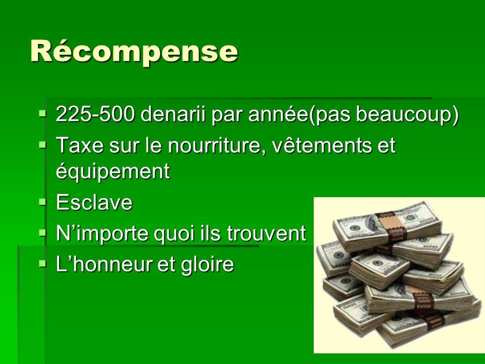 Récompense 225-500 denarii par année(pas beaucoup) 225-500 denarii par année(pas beaucoup) Taxe sur le nourriture, vêtements et équipement Taxe sur le