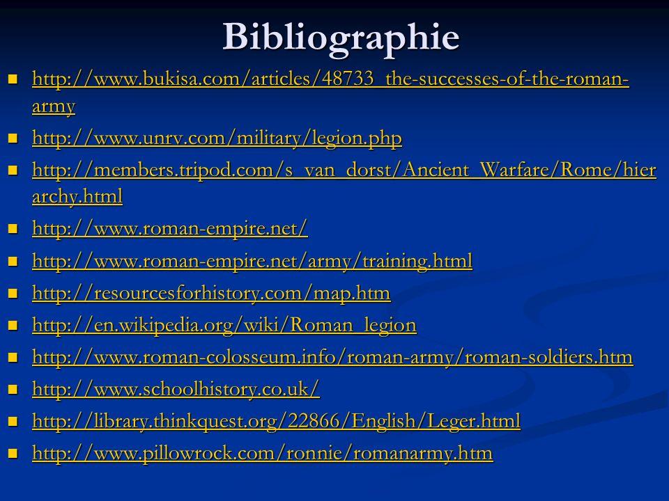 Bibliographie http://www.bukisa.com/articles/48733_the-successes-of-the-roman- army http://www.bukisa.com/articles/48733_the-successes-of-the-roman- a