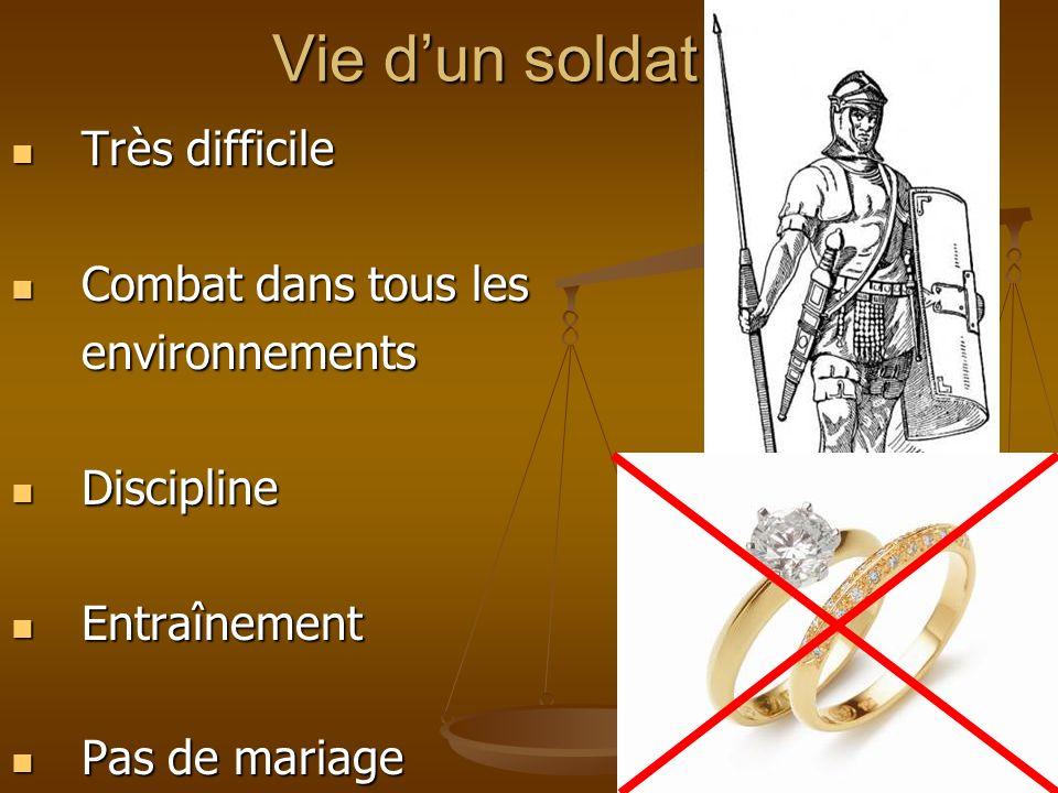 Vie dun soldat Très difficile Très difficile Combat dans tous les Combat dans tous lesenvironnements Discipline Discipline Entraînement Entraînement P