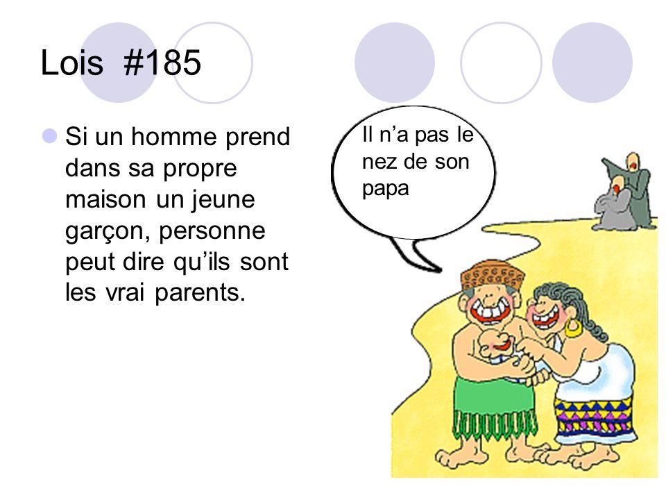 Lois #185 Si un homme prend dans sa propre maison un jeune garçon, personne peut dire quils sont les vrai parents. Il na pas le nez de son papa