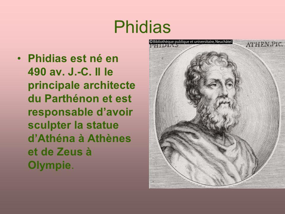 Phidias Phidias est né en 490 av. J.-C. Il le principale architecte du Parthénon et est responsable davoir sculpter la statue dAthéna à Athènes et de