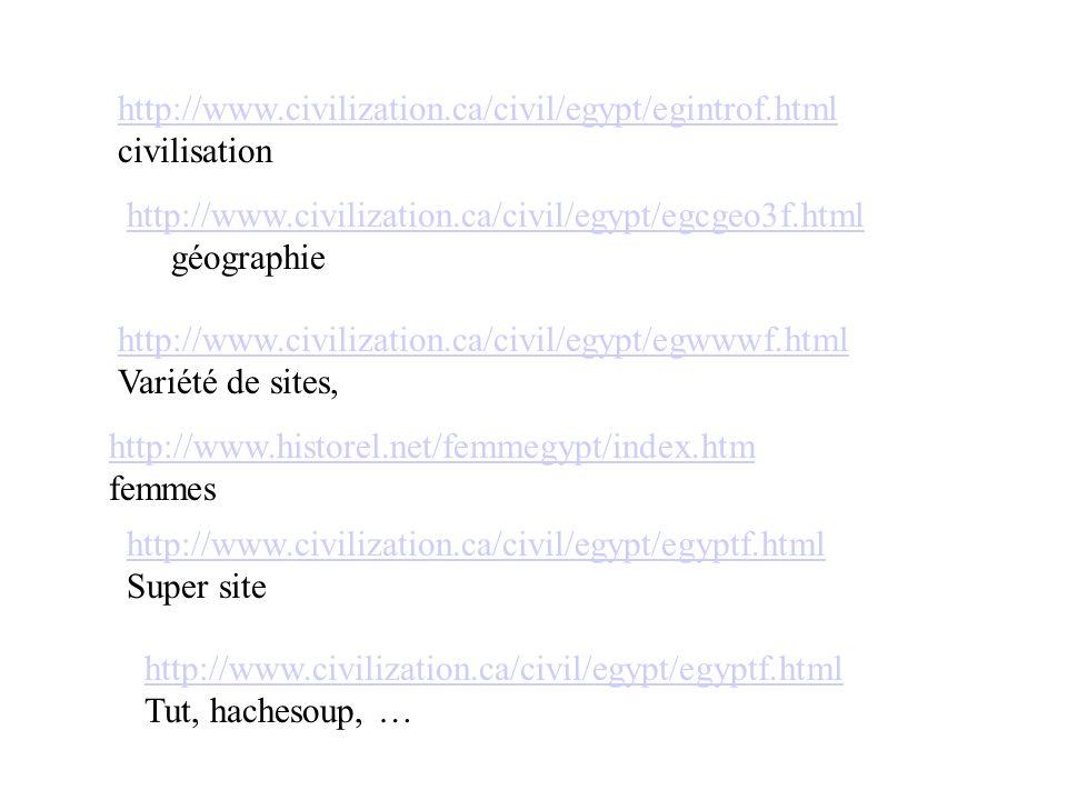 http://www.civilization.ca/civil/egypt/egcgeo3f.html géographie http://www.civilization.ca/civil/egypt/egintrof.html civilisation http://www.civilizat