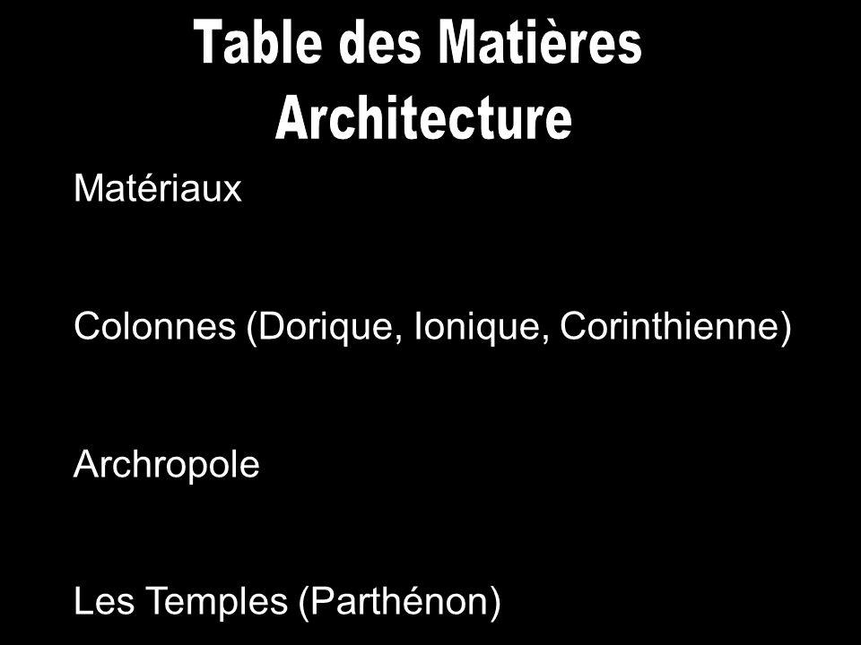 Matériaux Colonnes (Dorique, Ionique, Corinthienne) Archropole Les Temples (Parthénon)