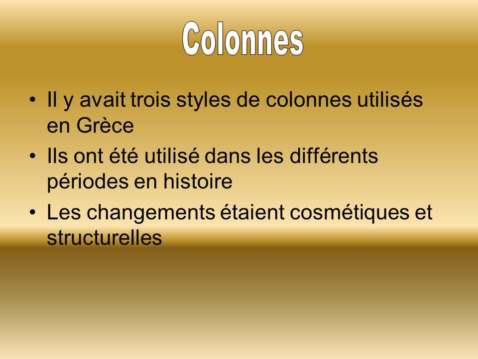 Il y avait trois styles de colonnes utilisés en Grèce Ils ont été utilisé dans les différents périodes en histoire Les changements étaient cosmétiques