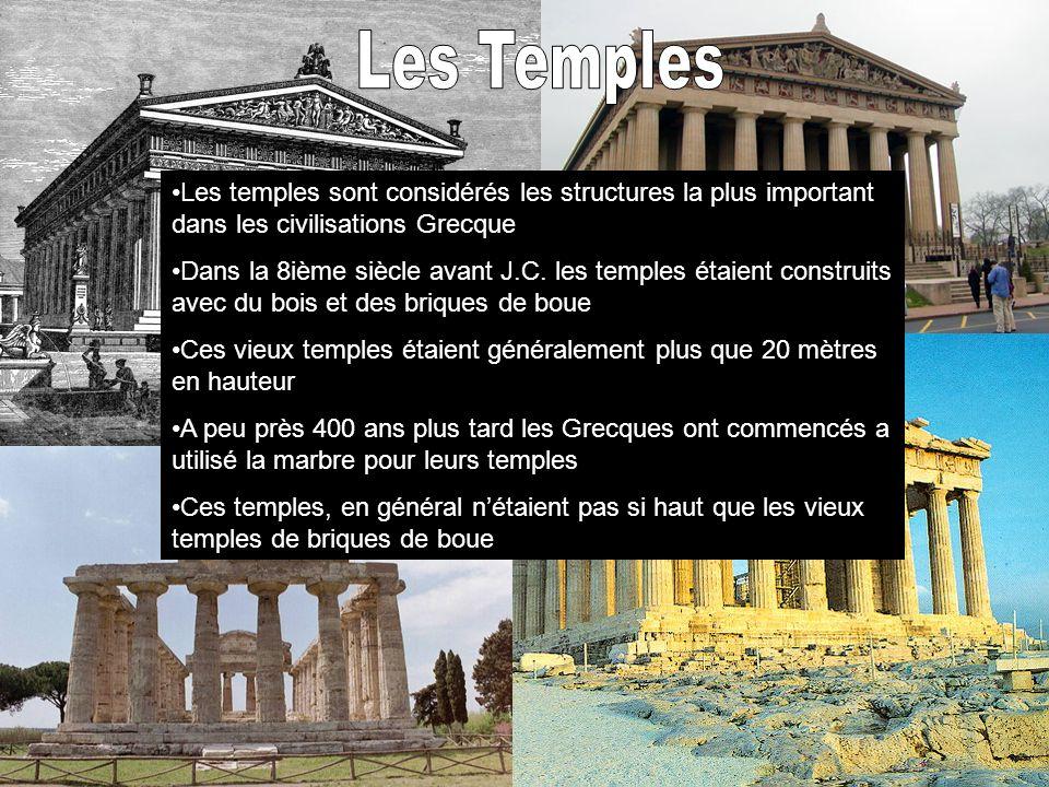 Les temples sont considérés les structures la plus important dans les civilisations Grecque Dans la 8ième siècle avant J.C. les temples étaient constr