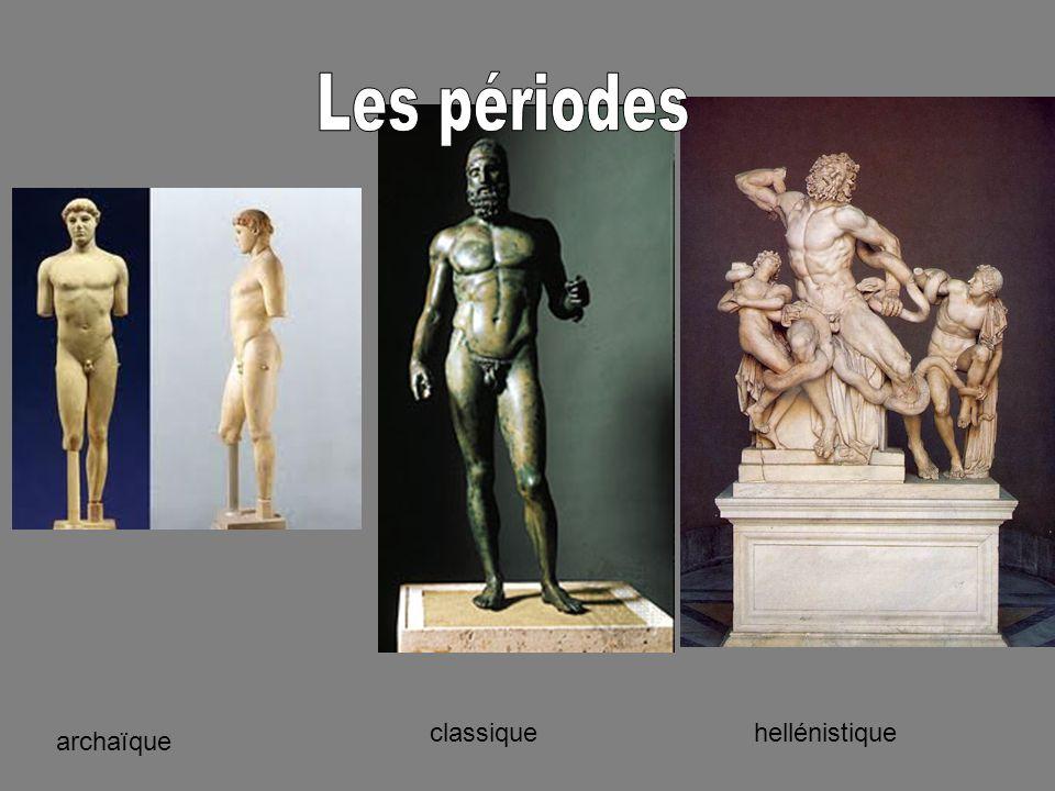 De 680 à 480 ans avant Jésus Christ Statues inspiré par lÉgypte et la Mésopotamie Toujours face en avant Le moins détaillé des périodes Fabriqué avec la pierre
