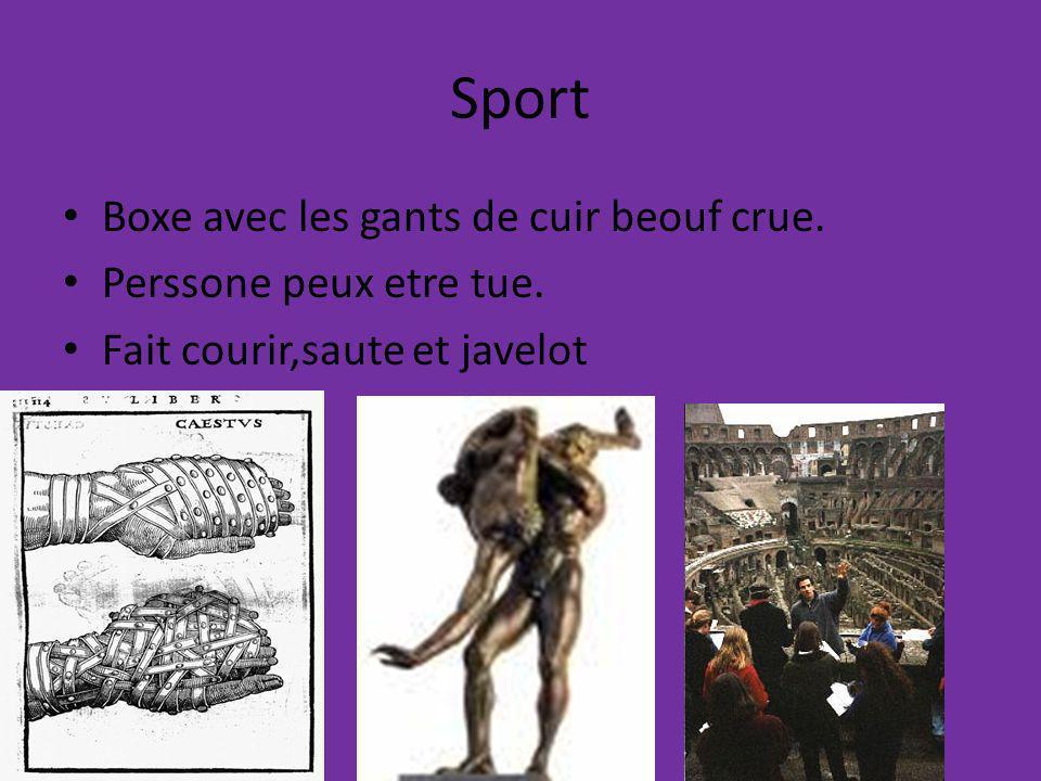 Sport Boxe avec les gants de cuir beouf crue. Perssone peux etre tue. Fait courir,saute et javelot
