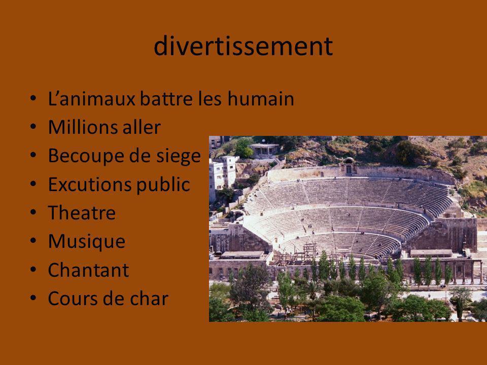 divertissement Lanimaux battre les humain Millions aller Becoupe de siege Excutions public Theatre Musique Chantant Cours de char