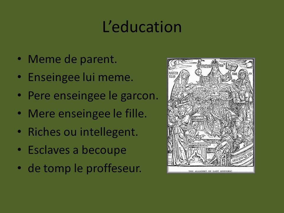 Leducation Meme de parent. Enseingee lui meme. Pere enseingee le garcon. Mere enseingee le fille. Riches ou intellegent. Esclaves a becoupe de tomp le