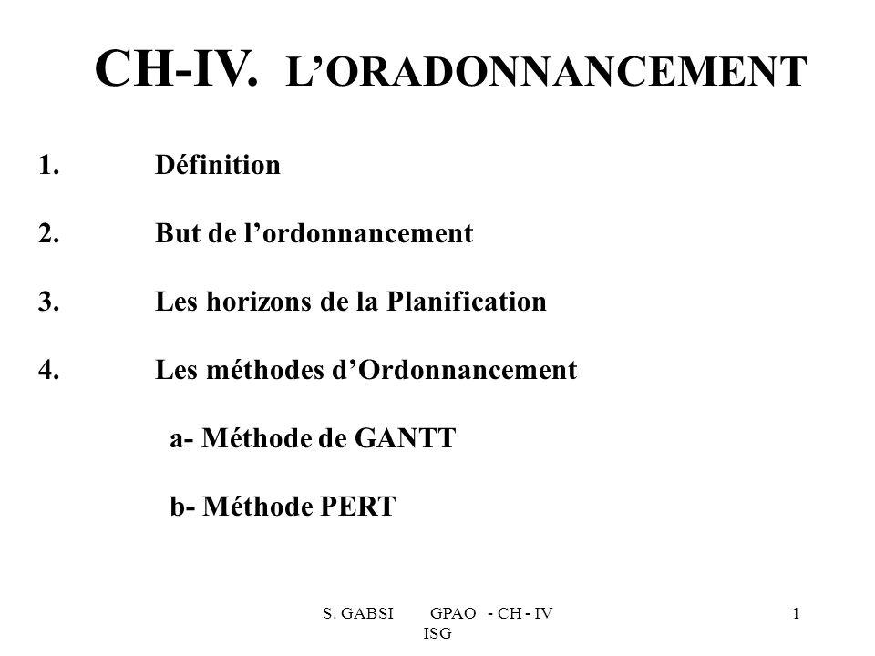 S. GABSI GPAO - CH - IV ISG 1 1. Définition 2. But de lordonnancement 3. Les horizons de la Planification 4. Les méthodes dOrdonnancement a- Méthode d