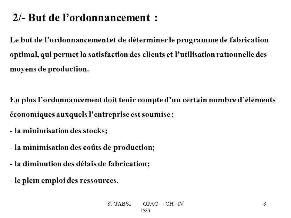 S. GABSI GPAO - CH - IV ISG 3 2/- But de lordonnancement : Le but de lordonnancement et de déterminer le programme de fabrication optimal, qui permet