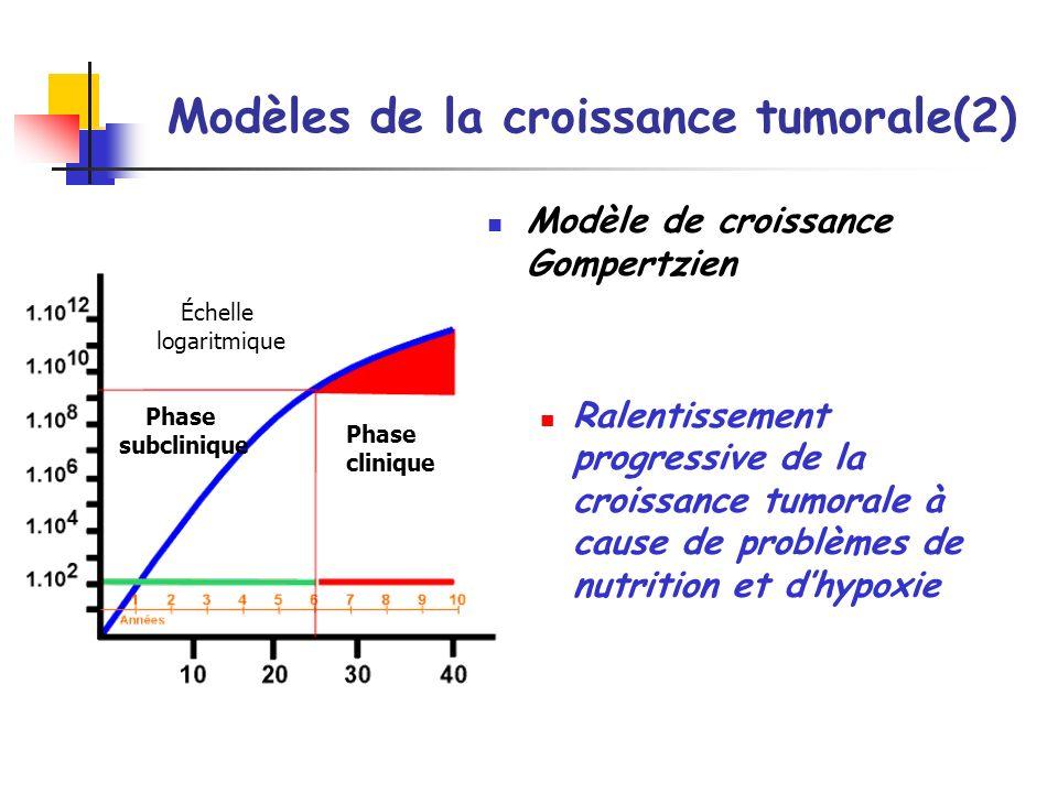 Modèles de la croissance tumorale(2) Modèle de croissance Gompertzien Ralentissement progressive de la croissance tumorale à cause de problèmes de nut