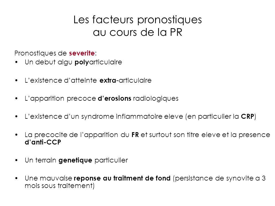 Les facteurs pronostiques au cours de la PR Pronostiques de severite : Un debut aigu poly articulaire Lexistence datteinte extra -articulaire Lapparit