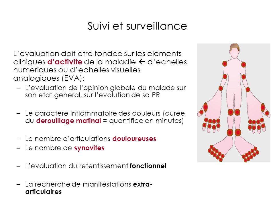 Suivi et surveillance Levaluation doit etre fondee sur les elements cliniques dactivite de la maladie dechelles numeriques ou dechelles visuelles anal