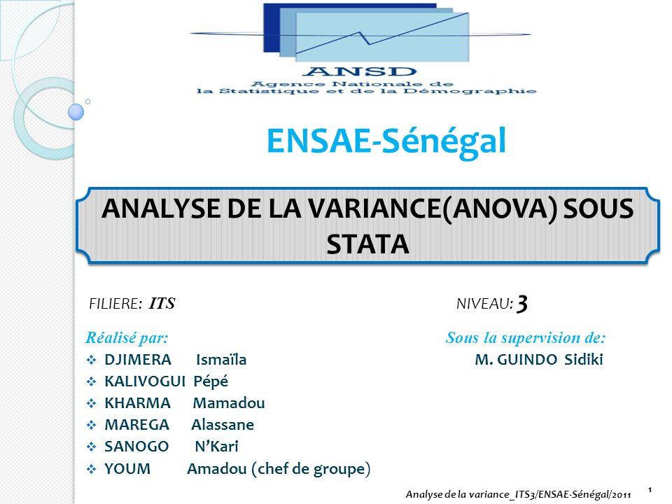 ENSAE-Sénégal Réalisé par: Sous la supervision de: DJIMERA Ismaïla M. GUINDO Sidiki KALIVOGUI Pépé KHARMA Mamadou MAREGA Alassane SANOGO NKari YOUM Am